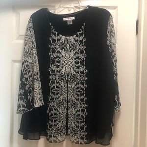 Allison Daley Blouse black and white